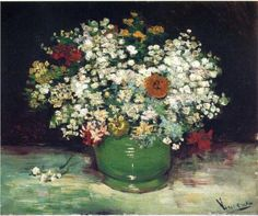 Vase with Zinnias and Other Flowers - Vincent van Gogh