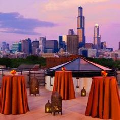 Copper Lamour Table Linen for your outdoor cocktail party in Chicago or anywhere else with a view.