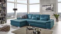 Ecksofa ACTIVE L-Form Bezug Leder ocean blau mit Sitztiefenverstellung