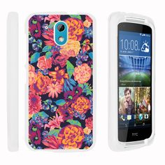 HTC Desire 526G Case SNAP SHELL White 3 IN 1- Slim Hard Fitted Case - Floral Dream