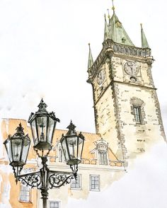 Prague. Czech Republic. Watercolor. Pen. Graphic. Sketch design. Old town