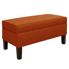Skyline Furniture Patriot Upholstered Storage Bench - Color: Tangerine