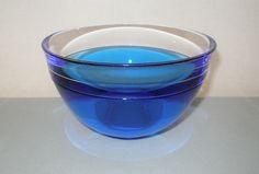 Sleek NEPTUNUS Blue INCALMO Signed ORREFORS Glass BOWL Modern LARS HELLSTEN OOP #Orrefors