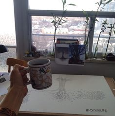 Happy place, happy dots! #afternoondelights #coffee #ink  Learn more about my commissions at www.acurrie.com  Art is community x~a. #acurrie #creatinglifeart #pomonalife #treeartist #treelove #treeart #pointillism #torontolife #torontoartist #yyzishome #instagood #instaartist #workinprogress #commission #community #artlife #artislife ...   In the background @crazysexykris #healthyliving = #healthymind. #gratitude