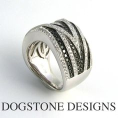 Ladies Black Diamond Ring  18ct White Gold  By Dogstone Designs  Contact - 0161 4910624