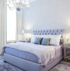 A glamorous, feminine, NYC bedroom with custom deGournay wallpaper.