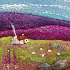 Felt Picture Wildflower Meadow Cottage and by AileenClarkeCrafts