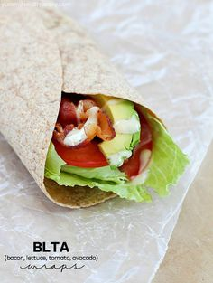Sick of boring lunches? You NEED to throw an easy BLTA wrap in the lunchbox! What could be better than a bacon, lettuce, tomato & avocado wrap with a creamy dressing? Seriously the most amazing wrap ever.