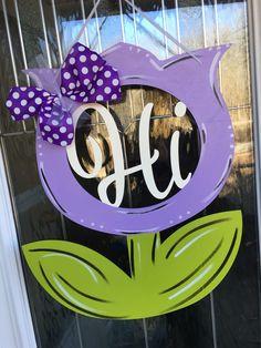 A personal favorite from my Etsy shop https://www.etsy.com/listing/499313178/hi-door-hanger-hi-flower-door-hanger