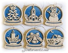 Scroll Saw Patterns :: Holidays :: Christmas :: Traditional ornaments :: Snow globe ornaments -