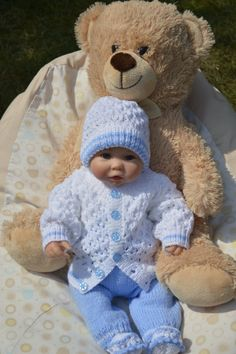 Newborn Coming Home Outfit  or will fit a 18-20 inch Reborn Baby Doll in Pale Blue and White Yarn Ready to Ship Now