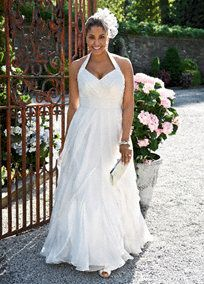 The perfect balance of style and grace, this romantic satin and chiffon gown will take people's breath away.  Ruched halter bodice is form-fitting and flattering.  Free-flowing ruffled�chiffon cascades beautifully to create a soft�skirt.�  Sweep train.  Available in stores and online in Ivory. White available by special order in stores.  Coordinating Flower Girl Style FG3218, , sizes 2T-14 (special order only).  To preserve your wedding dreams, try our Wedding Gown Preservation Kit.