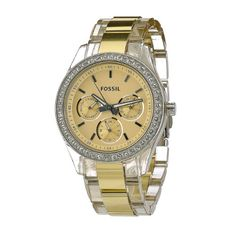 Fossil Women's ES2867 translucent case and bracelet of this yellow-tinted watch Crystal Bezel Yellow dial Watch