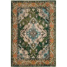 Monaco Forest Green/Light Blue 5 ft. 1 in. x 7 ft. 7 in. Area Rug