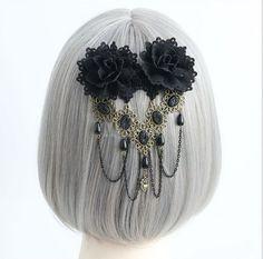 Gothic Lolita Kopfschmuck schwarze Blume Lolita Haarnadel dekoriert mit Kugelkette