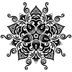 Illustration of Kaleidoscopic floral pattern Mandala in black and white vector art, clipart and stock vectors. Circular Pattern, Mandala Pattern, Mandala Design, Mandala Drawing, Mandala Art, Mandela Tattoo, Black And White Printer, Black White, Indian Mandala