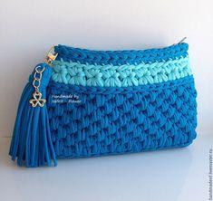 """Купить Вязаная сумка на цепочке """"Бирюзовая волна"""" - бирюзовый, однотонный, голубой, сумка ручной работы"""