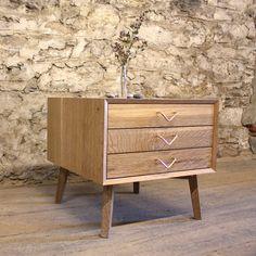 Cerused Oak 3 Drawer Side Table by Brian Volk-Zimmerman