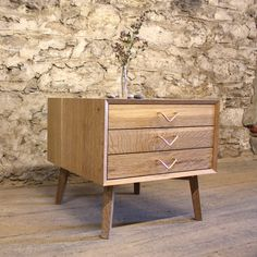Cerused Oak 3 Drawer Side Table by Brian Volk-Zimmerman - those handles are perfect.