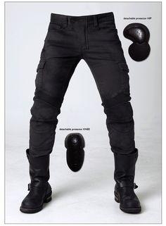 Wholesale Product Snapshot Product name is uglybros MOTORPOOL UBS06 retro black Woman men slacks motorcycle jeans loose version