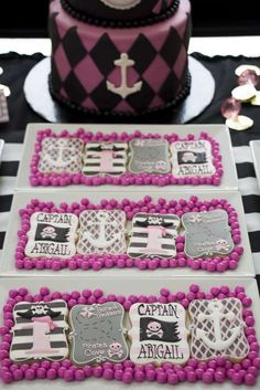 Pirate princess birthday party cookies! See more party ideas at CatchMyParty.com!
