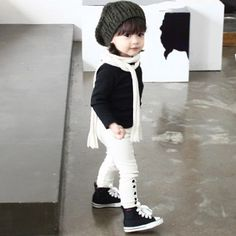 black and white kid outfit. I know it's a kid's outfit, but dang, that sure is cute!