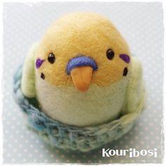 手染め羊毛さえずりインコマスコット*小鳥の作品展in横浜|羊毛フェルトde小鳥雑貨☆香里星☆