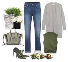 Olive + Gray by cherieaustin on Polyvore featuring polyvore fashion style MICHAEL Michael Kors Topshop Levi's Casadei 3.1 Phillip Lim Go Stationery Ethan Allen Nearly Natural clothing