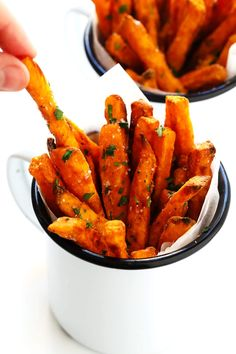 The BEST Baked Sweet Potato Fries Recipe As in ultra crispy perfectly seasoned and irresistibly delicious Perfect when served as an appetizer side dish or snack And also naturally gluten-free vegan and vegetarian Gimme Some Oven Oven Roasted Sweet Potatoes, Fried Potatoes, Oven Potatoes, Roasted Turnips, Vegetarian Recipes, Cooking Recipes, Healthy Recipes, Yam Recipes, Dessert Recipes