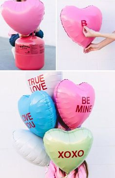 DIY Conversation Heart Gift Balloons for Valentine's Day