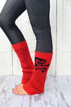SKULL+&+Bones+Leg+Warmers+Red+Skull+Leg+Warmers+by+ThreeBirdNest,+$18.00