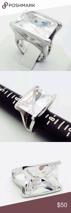 Huge Statement CZ Ring in .925 This ring weighs 17.8 grams in solid sterling silver. This is a huge statement ring No trades please 20mm x 15mm huge! FAS Jewelry Rings
