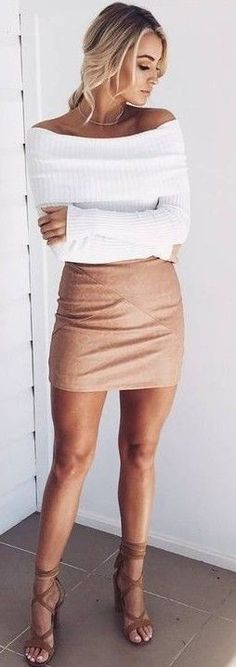 #prefall #muraboutique #outfitideas |  White Knit + Camel Leather Skirt