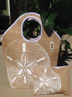 Mud Pie Beach Bag Set  Sand Dollar  Beach Bag by GebbiesEmbroidery, $25.95