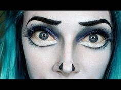 """The Corpse Bride by Tim Burton Inspired Makeup Products: Ben Nye Cream Foundation """"White"""" Kryolan Blue and Black Cream Paints MAC Shadows """"Deep Truth"""" & """"Fre..."""