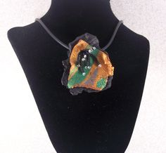 Green and Gold Shield Polymer Clay Necklace by MeltingPotStudios - Debbie Martin