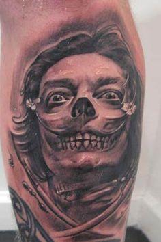 Yalzee's Amazing Tattoos Inspired by Salvador Dali. Tattoo by Little Dragon. #inked #inkedmag #tattoo #salvadordali #art #skull #amazing