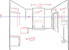 Learn how to draw the inside of a room with correct perspective drawing techniques. This particular drawing will use 3 vanishing points, so it is a bit more complicated than our other perspective drawing lessons.