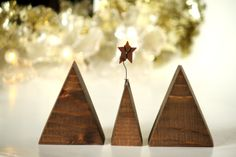 Items similar to Christmas Decor - Babys first Christmas - Family of trees - Set of THREE - Wood - Christmas decoration - Contemporary Christmas decor on Etsy Modern Christmas Ornaments, Baby First Christmas Ornament, Babies First Christmas, Rustic Christmas, Family Christmas, Christmas Holidays, Christmas Decorations, Holiday Decor, Gifts For New Parents