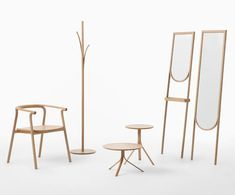 Nendo launched a new collection of furniture called Splinter for the Japanese manufacturer Conde House. Each wooden component looks as if it is peeling away, or splintering, to allow for hooks to hold coats, a single rod to become three table legs, or the backs of a chair to become armrests.