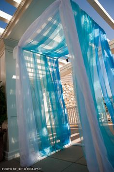 Pretty tulle entryway to wedding ceremony or reception blue wedding Quinceanera Decorations, Quinceanera Party, Wedding Decorations, Quinceanera Dresses, Quince Decorations, Wedding Arch Tulle, Wedding Reception, Reception Entrance, Wedding Dresses