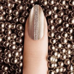 Tewsé London Champagne nude with tiny caviar stripe. Funky Nails, Love Nails, How To Do Nails, Pretty Nails, Nail Polish Designs, Nail Designs, Ciate Nail Polish, Art Deco Nails, Nail Art