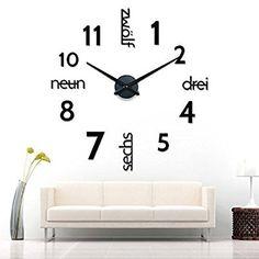 xxl 3d silberne riesen designer wanduhr wohnzimmer dekoration ... - Wanduhr Für Wohnzimmer