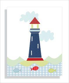 Whale, Lighthouse and Tugboat Childrens Art Prints, Nursery Wall Art, Nursery…