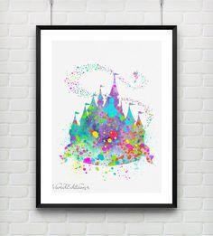 Disney Princess Castle Watercolor Print  Fine Art by VIVIDEDITIONS
