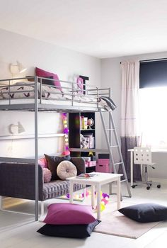 Loft bed with seating below – children's room in white, gray and pink Source by binekaki Small Room Bedroom, Bedroom Loft, Girls Bedroom, Bedroom Decor, Loft Beds For Teens, Mezzanine Bed, Girl Bedroom Designs, Big Girl Rooms, Dream Rooms