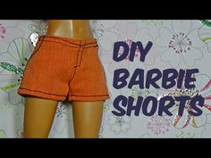 How to make shorts for Barbie DIY For Dolls Shorts for doll Sewing Barbie Clothes, Barbie Sewing Patterns, Barbie Dolls Diy, Barbie Doll House, Crochet Doll Clothes, Barbie Dress, Doll Clothes Patterns, How To Make Clothes, How To Make Shorts