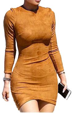 Women Bandage Clubwear Cocktail Bodycon Suede Long Sleeve Winter Sexy Mini Dress #Unbranded #StretchBodycon #Clubwear