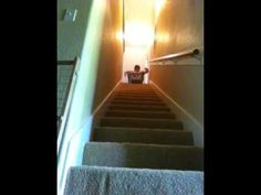stair sliding goes wrong. Ouch…He'll think twice before re-attempting it.