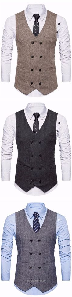 V Neck Double Breasted Belt Design Waistcoat is part of Fashion - Cheap Fashion online retailer providing customers trendy and stylish clothing including different categories such as dresses, tops, swimwear Mens Fashion Blazer, Suit Fashion, Look Fashion, Fashion Outfits, Fashion Tips, Gq Style, Mode Style, Mode Masculine, Mens Attire